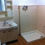 葛西クリーンタウン清新南ハイツの洗面台と洗濯機置き場